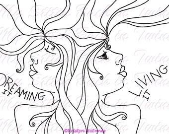 Digital stamp colouring image - dreaming living. jpeg / png