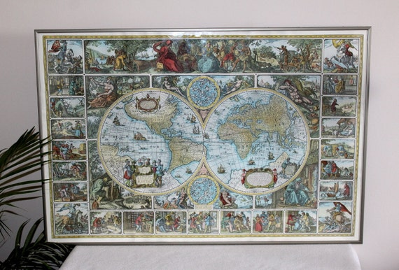 Old World Map Mural Print Very Old. 50s Gorgeous Pictures
