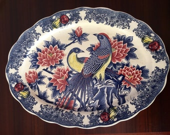 Large vintage serving platter Made in Japan featuring pheasant bird scene in blue and red
