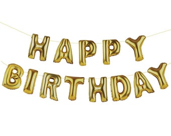 13 gold happy birthday balloons - Letter ballons to say HAPPY BIRTHDAY
