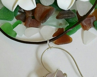 Wired Heart with Lavender Sea Glass