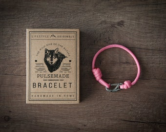 Men's bracelet-women's pink unisex Paracord 550-Pulsemade Slim collection-Handmade paracord bracelet rose pink Mens/Womens