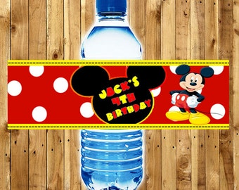 MICKEY MOUSE Water Bottle Labels / Mickey Mouse CLUBHOUSE Water Bottle Labels