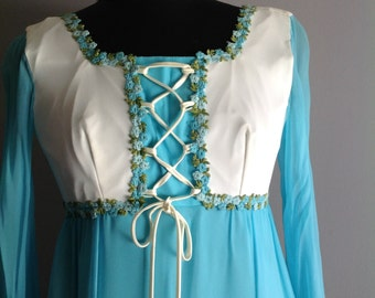 Turquoise Organza with  lace bodice party gown - vintage gown/ Renaissance style gown, 1960's gown