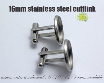 2pcs(1pairs) Surgical Stainless Steel Cuff Link Blanks-16mm Cufflink Tray-Bezel Tray Setting Stainless Steel French Cufflink Blanks