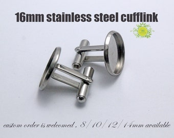 10pcs(5pairs) Surgical Stainless Steel Cuff Link Blanks-16mm Cuff link Trays-Bezel Tray Setting Stainless Steel French Cufflinks Blank-Nsize