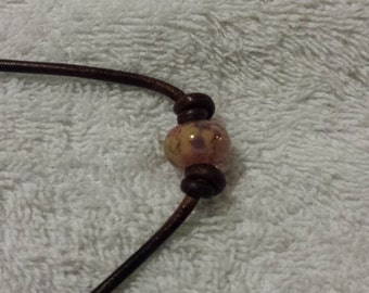 3MM Brown Leather Adjustable Necklace w/Beautiful Pink Boro Bead