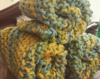 Set of 3 Blue-Yellow Hand-Knitted Washcloths