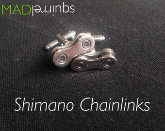 Bicycle, Bike Chain Cufflinks made from Shimano Chain, with Shimano on the Plate