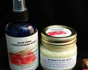 Whipped Shea Butter Hair Cream & Aloe Vera Conditioning Spray Combo/Moisturizer/Vegan/Organic