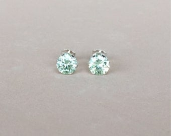 genuine green mystic topaz 6mm faceted round stud earrings with 925 sterling silver setting and post - mystic topaz studs - topaz studs