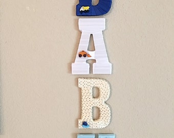 Custom Name Letters, Name Letters for Nursery, Nursery Decor, Nursery Letters, Train Theme Nursery,Decorative Letters, Boy Baby Shower Gift