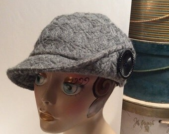 20% OFF SALE Vintage San Diego Hat Co. Gray Wool Newsboy Hat