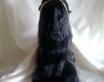 Black wig with a ribbon