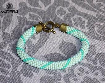Bracelet harness beaded bohemian style, mint, Cuff bracelet, bead bracelet