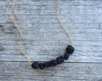 Black Lava Necklace - Matte Black Lava Beads - Black Necklace - Layering Necklace - Lava Necklace -Minimalist Necklace - Black Lava Beads -