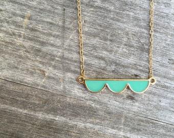 Teal Enamel Scallop Necklace - Enamel Necklace - Teal Scallop Necklace - Gift for her - Bridesmaid Gift