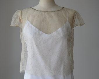 Top, blouse bridal champagne lace