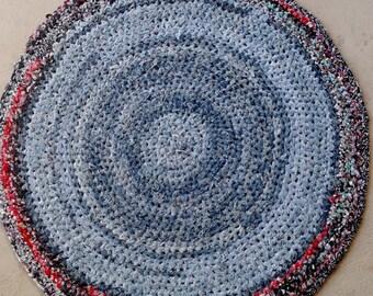 """Crocheted Rag Rug  """"Denim"""""""