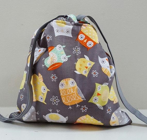 Bag Owl Fabric; Drawstring Owl Bag; Lined Owl Drawstring Bag; Gift Bag