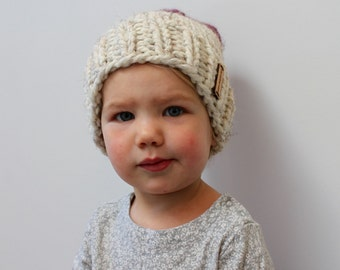 Toddler Knit Hat Two-Tone