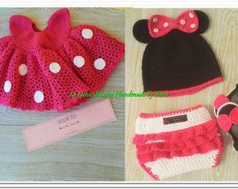 Little dress for baby girl in cotton, with Hat, shoes and diaper cover inspired by Minnie.