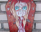 Wooden wall coffin-clock -  Carrie White - Carrie horror movie. Handmade wall clock
