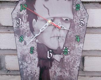 Wooden wall coffin-clock - The Monster of Frankenstein