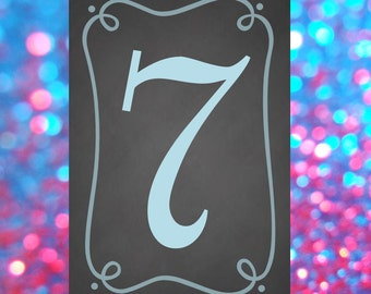 Chalkboard Table Numbers (DOUBLE SIDED, Stand Not Included)