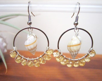 Seashell Earrings, Seashell & Citrine Earrings, Seashell Chandelier Hoop Earrings, Beach Earrings, Shell Earrings, Seashell Jewelry