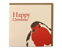Letterpress Christmas Cards - Holiday Card - Blank Card - Robin Card - Bird Card - Happy Christmas Card - Winter Card - Red Letterpress Card