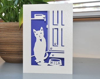 Cat Handmade Paper Cut Card 5x7