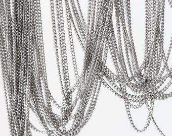 2086 Silver flat curb chain 1.02x1.5mm Sterling silver Rhodium plated chain 925 silver chain Link chain Jewelry making silver chain 0.5m