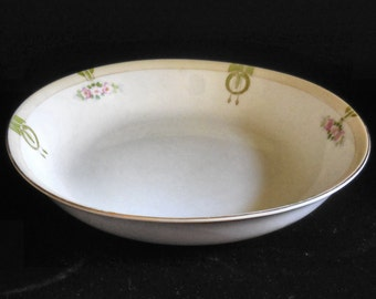 Porcelain Soup Bowl Hand Painted Nippon Mystery Pattern Craftsman Style
