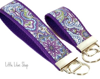 Keychain, Key Fob, Fabric Key Chain, Fabric Keychain, Fabric Key Fob, Fabric Key Holder, Key Chain, Wrist Key Holder, Purple Paisley