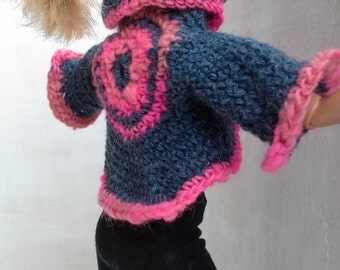 Blue and pink round jacket, crochet, for Barbie doll, barbie clothes