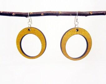 Wood Hoop Earring - Lightweight Dangle Wooden Earring Pair - Yellow Heart Wood - Drop Circle Earring