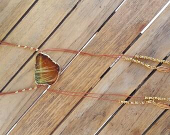 gradient Brown druzy agate necklace