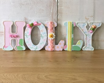 wooden letters decorated personalised