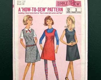 1966 Simplicity Pattern #6655 Teen/Misses Jumper Dress 12 Sizes Uncut