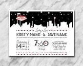 Lucky In Love wedding invitation with a Las Vegas theme.