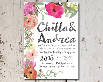 Hand painted effect wedding invitation with lush flowers and water-color style writing.