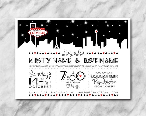 Las Vegas Themed Wedding Invitations: Lucky In Love Wedding Invitation With A Las Vegas Theme