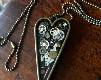 Bronze Steampunk Heart Necklace