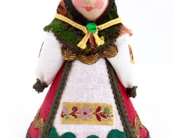 Christmas Russian Doll, Vintage Non- Nesting Doll, Matryoshka Doll. Miniature Traditional Russian Clothing, Babushka Grandmother Figurine.