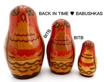 Vintage USSR Nesting Dolls Brest Owl Family. Wooden Owl Figurines. Collectible Owls. Painted Owls.
