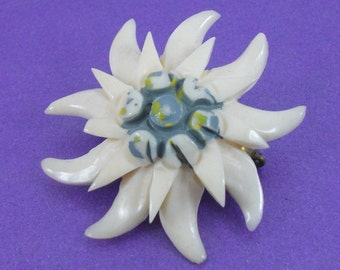 Vintage Flower Brooch, Lucite Brooch,Art Deco Brooch, Ivory Brooch, Blue Brooch, Vintage GIft