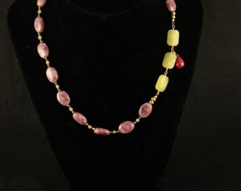Asymmetrical Pink Lepidolite Serpentine and Pyrite Necklace with Ruby Dangle