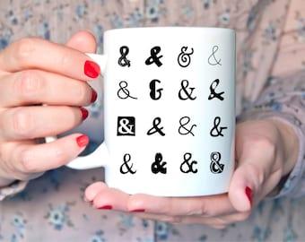 Mug Ampersand Coffee Mug Office Cup White and symbol sign Black Writer Blogger Gift Book Art Typography Typewriter High Quality Ambersand