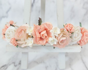 Peach and white flower crown - boho wedding floral hair wreath - bridal headpiece - hair accessories - garland - woodland crown
